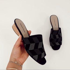 Donald Pliner Black Studded Mules Wood Block Heel